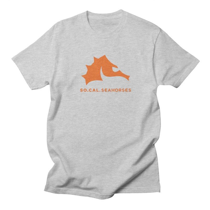 Seahorses Mascot / Watermark - Orange Men's Regular T-Shirt by SEAHORSE SOCCER's Artist Shop