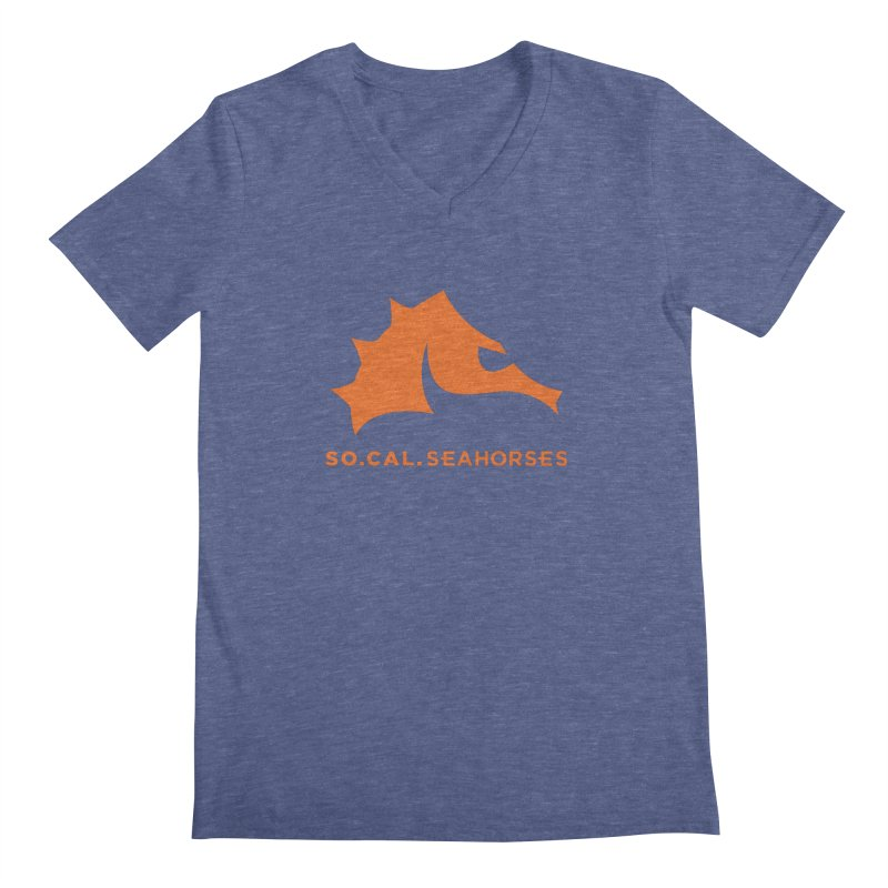 Seahorses Mascot / Watermark - Orange Men's Regular V-Neck by SEAHORSE SOCCER's Artist Shop