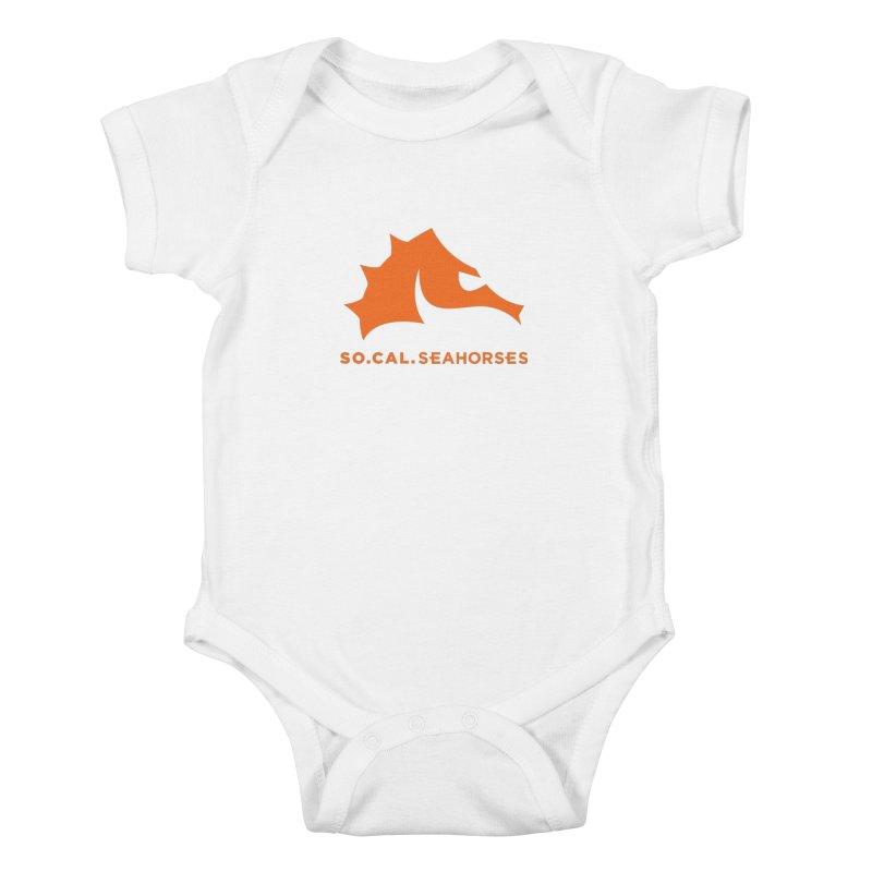 Seahorses Mascot / Watermark - Orange Kids Baby Bodysuit by SEAHORSE SOCCER's Artist Shop