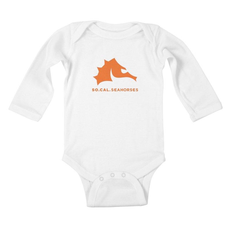 Seahorses Mascot / Watermark - Orange Kids Baby Longsleeve Bodysuit by SEAHORSE SOCCER's Artist Shop