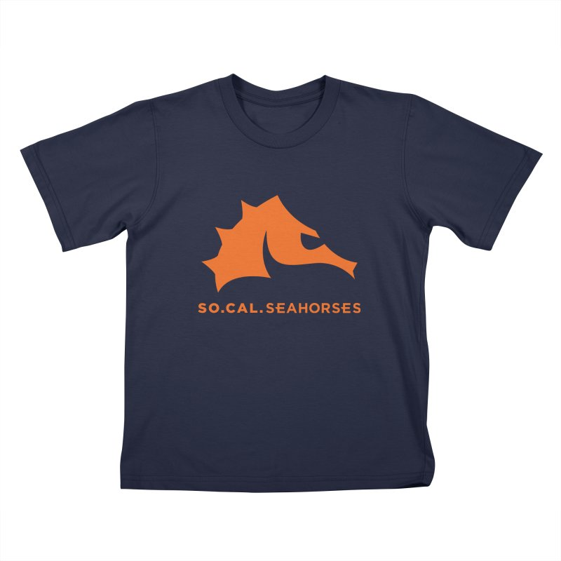 Seahorses Mascot / Watermark - Orange Kids T-Shirt by SEAHORSE SOCCER's Artist Shop