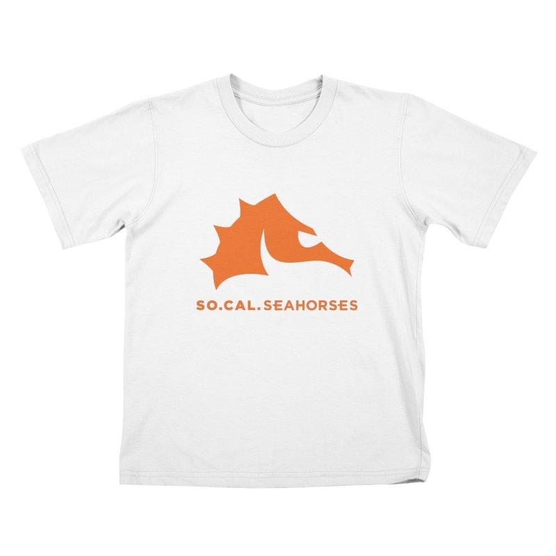 Seahorses Mascot / Watermark - Orange Kids T-Shirt by SEAHORSE SOCCER's Artist Shop