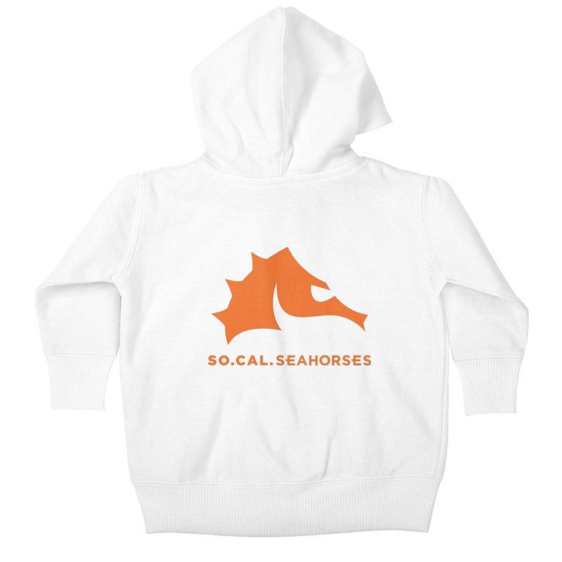 Seahorses Mascot / Watermark - Orange Kids Baby Zip-Up Hoody by SEAHORSE SOCCER's Artist Shop