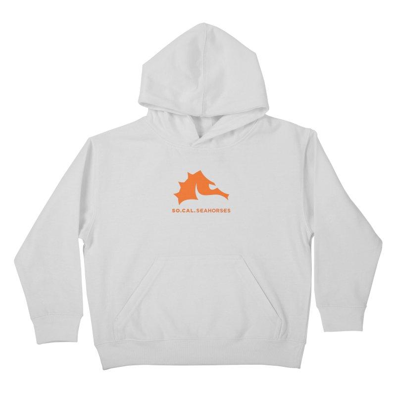 Seahorses Mascot / Watermark - Orange Kids Pullover Hoody by SEAHORSE SOCCER's Artist Shop