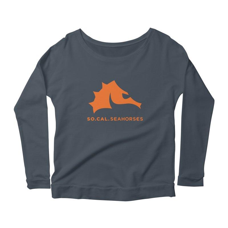 Seahorses Mascot / Watermark - Orange Women's Scoop Neck Longsleeve T-Shirt by SEAHORSE SOCCER's Artist Shop