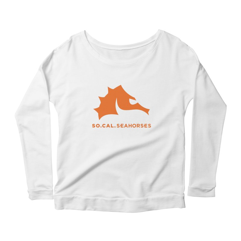 Seahorses Mascot / Watermark - Orange Women's Scoop Neck Longsleeve T-Shirt by SEAHORSE SOCCER's Artist Shop