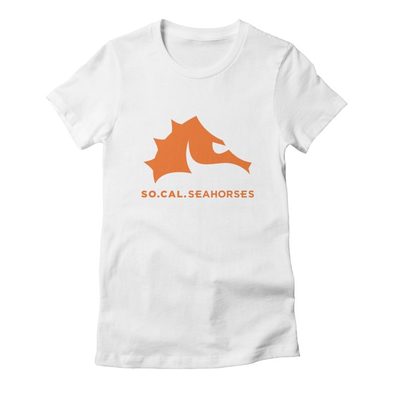 Seahorses Mascot / Watermark - Orange Women's Fitted T-Shirt by SEAHORSE SOCCER's Artist Shop