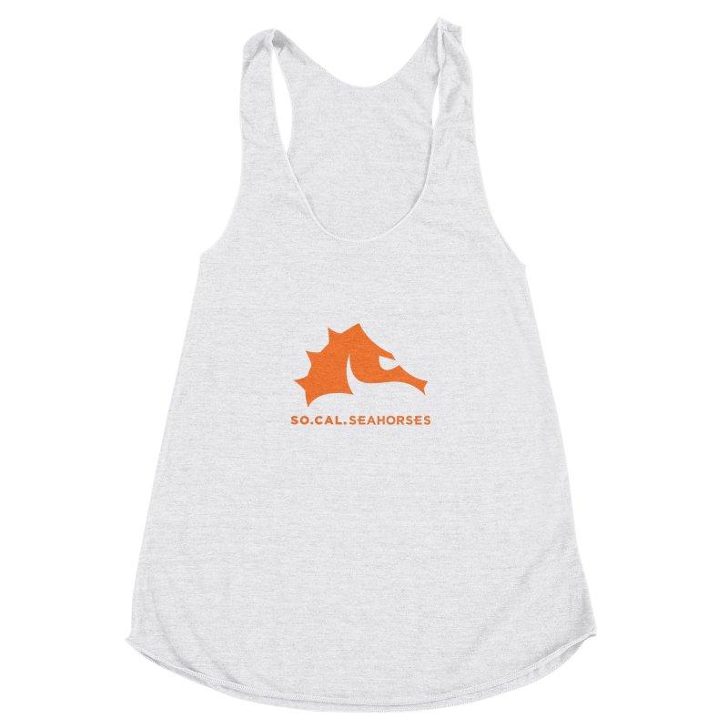 Seahorses Mascot / Watermark - Orange Women's Racerback Triblend Tank by SEAHORSE SOCCER's Artist Shop