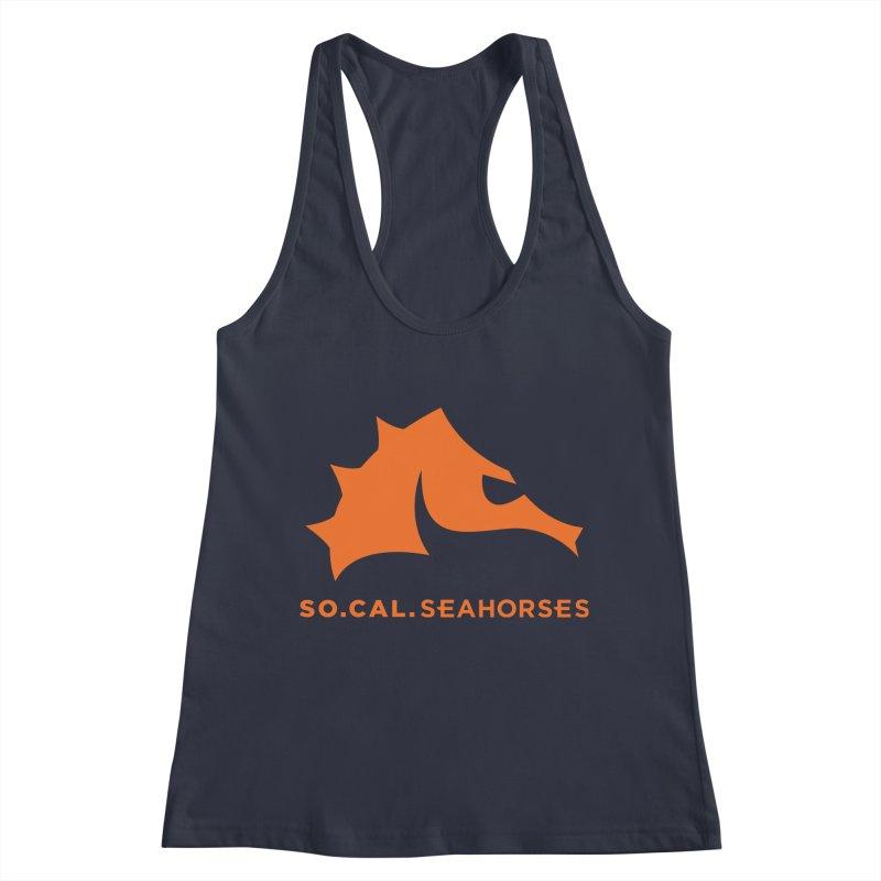 Seahorses Mascot / Watermark - Orange Women's Racerback Tank by SEAHORSE SOCCER's Artist Shop
