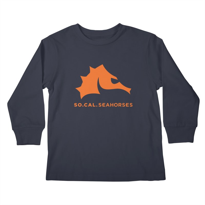 Seahorses Mascot / Watermark - Orange Kids Longsleeve T-Shirt by SEAHORSE SOCCER's Artist Shop