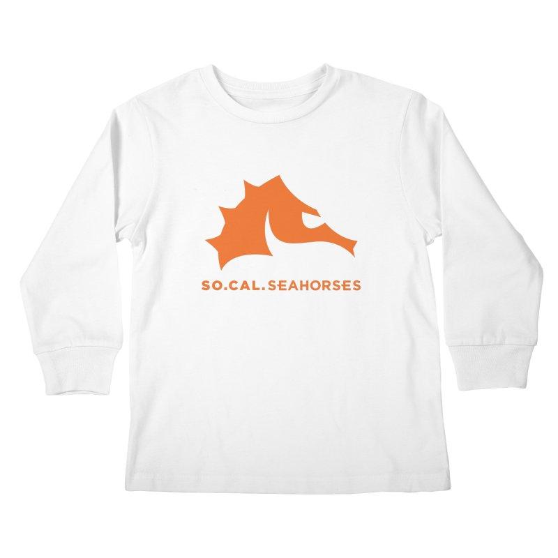 Seahorses Mascot / Watermark - Orange Kids Longsleeve T-Shirt by SEAHORSE SOCCER's Artist Shop