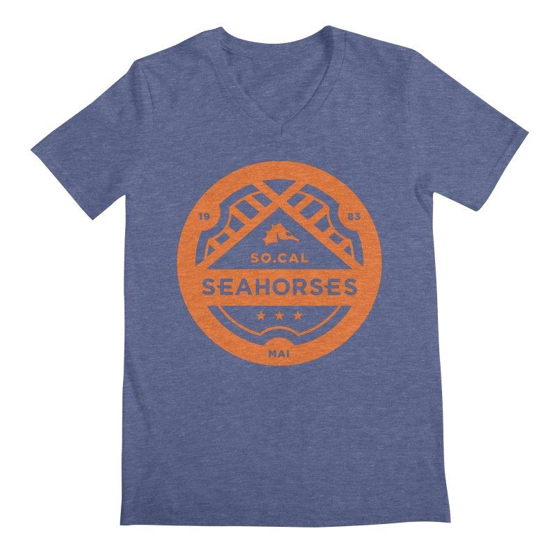 Seahorse Crest - Orange Men's Regular V-Neck by SEAHORSE SOCCER's Artist Shop