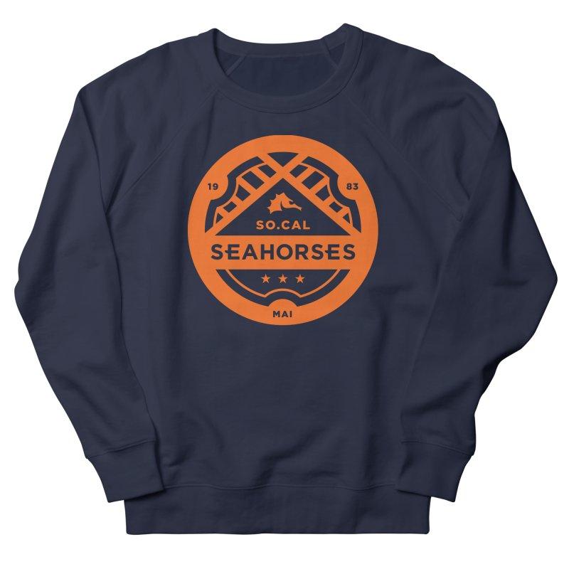 Seahorse Crest - Orange Men's French Terry Sweatshirt by SEAHORSE SOCCER's Artist Shop