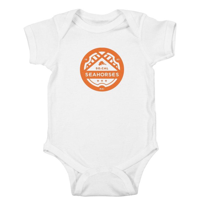 Seahorse Crest - Orange Kids Baby Bodysuit by SEAHORSE SOCCER's Artist Shop