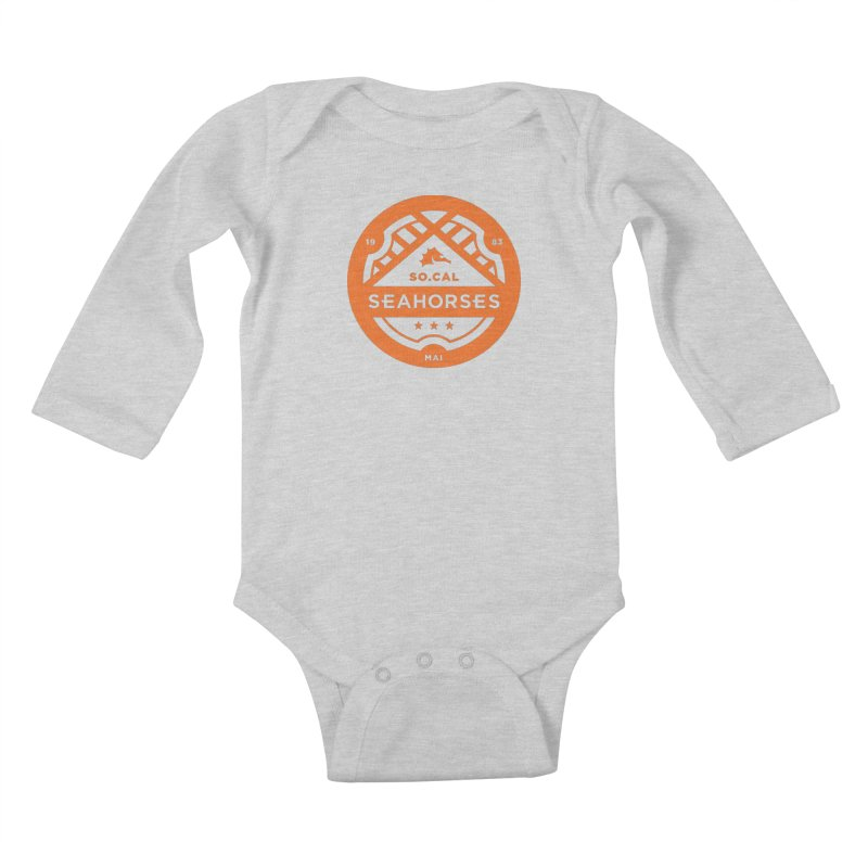 Seahorse Crest - Orange Kids Baby Longsleeve Bodysuit by SEAHORSE SOCCER's Artist Shop