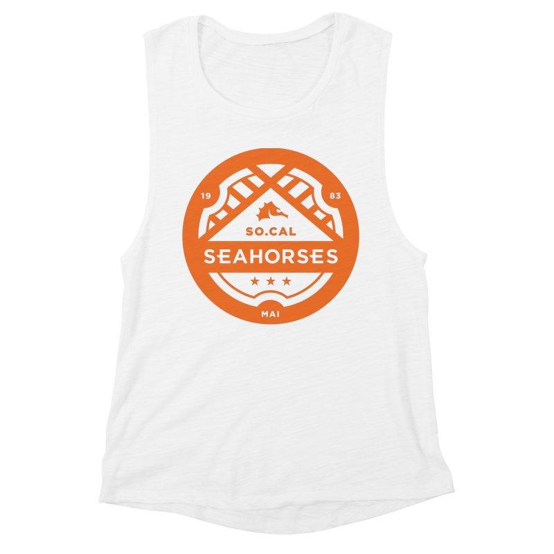 Seahorse Crest - Orange Women's Muscle Tank by SEAHORSE SOCCER's Artist Shop