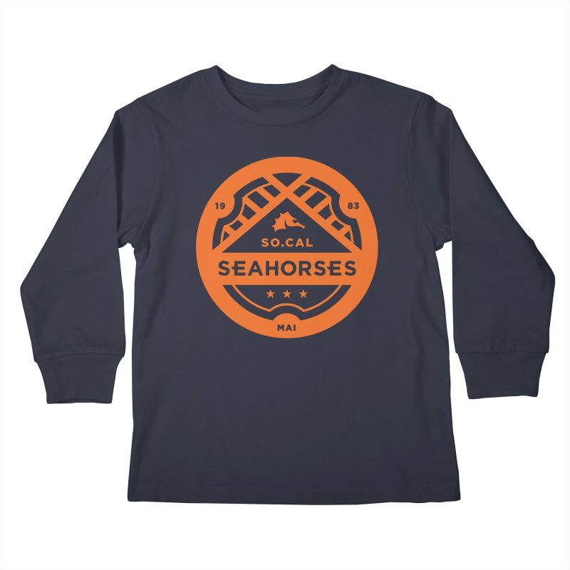 Seahorse Crest - Orange Kids Longsleeve T-Shirt by SEAHORSE SOCCER's Artist Shop