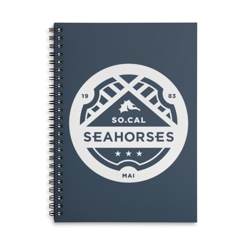 Seahorse Crest - White Accessories Lined Spiral Notebook by SEAHORSE SOCCER's Artist Shop