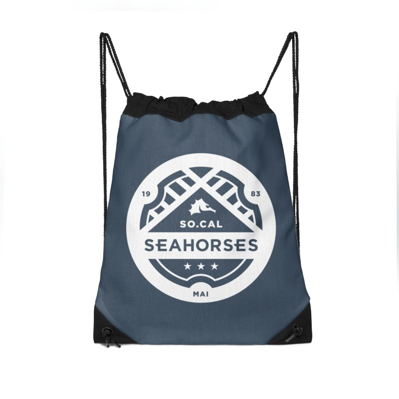 Seahorse Crest - White Accessories Drawstring Bag Bag by SEAHORSE SOCCER's Artist Shop