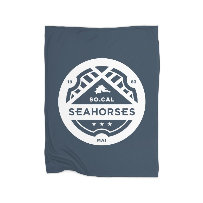 Seahorse Crest - White Home Fleece Blanket Blanket by SEAHORSE SOCCER's Artist Shop