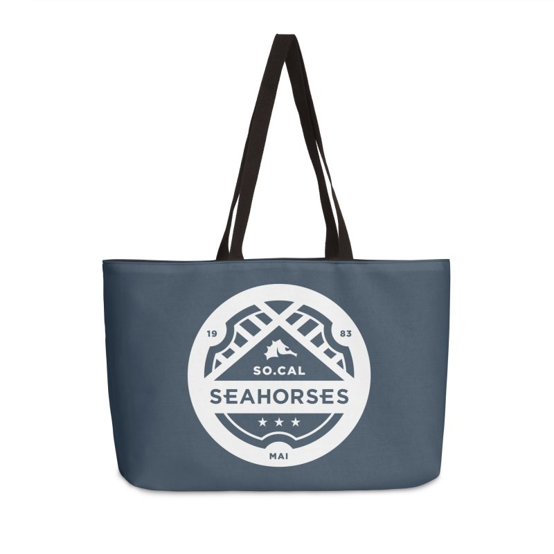 Seahorse Crest - White Accessories Weekender Bag Bag by SEAHORSE SOCCER's Artist Shop