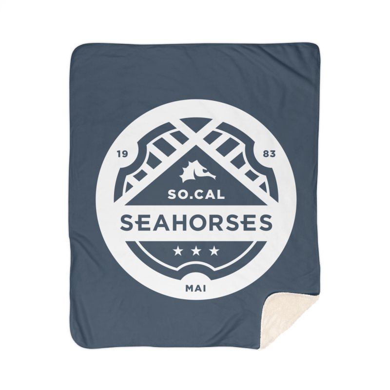 Seahorse Crest - White Home Sherpa Blanket Blanket by SEAHORSE SOCCER's Artist Shop