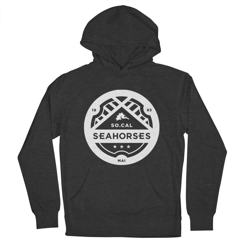 Seahorse Crest - White Men's French Terry Pullover Hoody by SEAHORSE SOCCER's Artist Shop