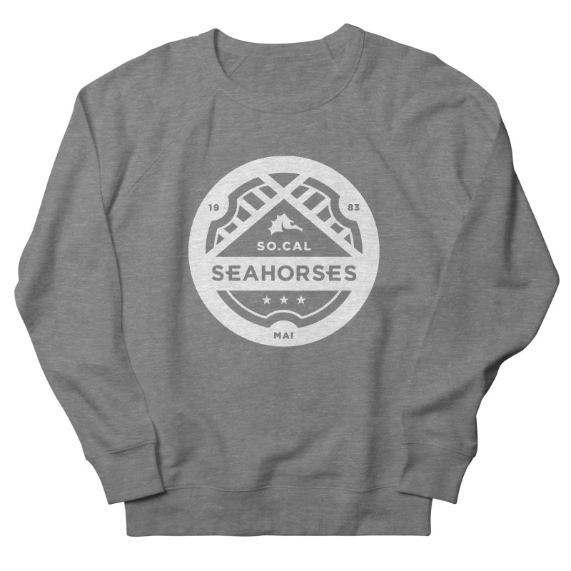 Seahorse Crest - White Men's French Terry Sweatshirt by SEAHORSE SOCCER's Artist Shop