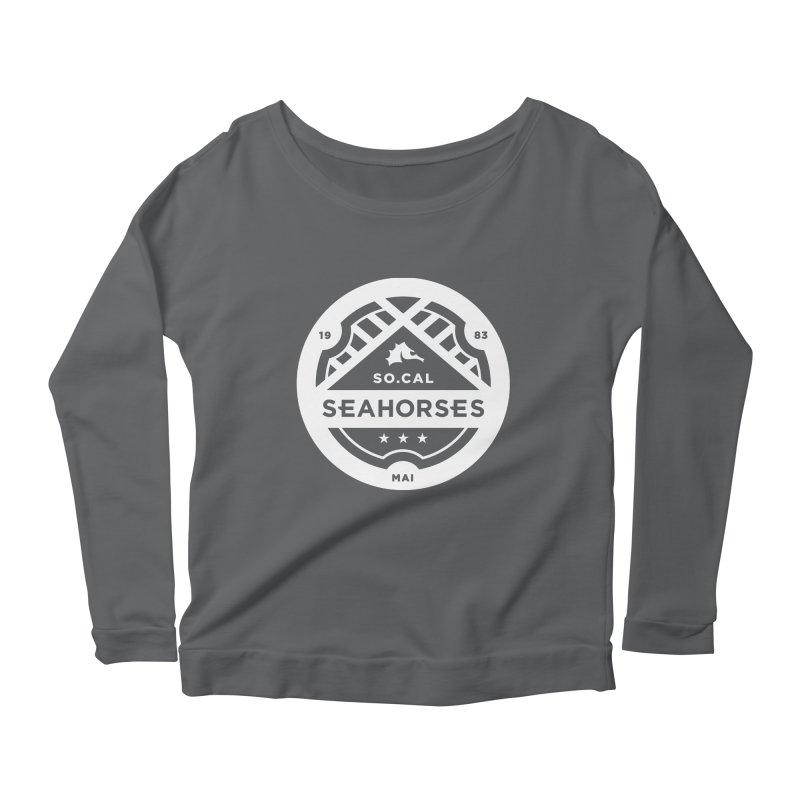Seahorse Crest - White Women's Scoop Neck Longsleeve T-Shirt by SEAHORSE SOCCER's Artist Shop