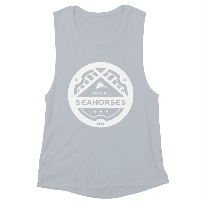 Seahorse Crest - White Women's Muscle Tank by SEAHORSE SOCCER's Artist Shop