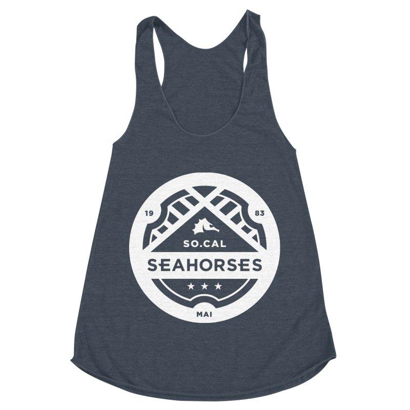 Seahorse Crest - White Women's Racerback Triblend Tank by SEAHORSE SOCCER's Artist Shop