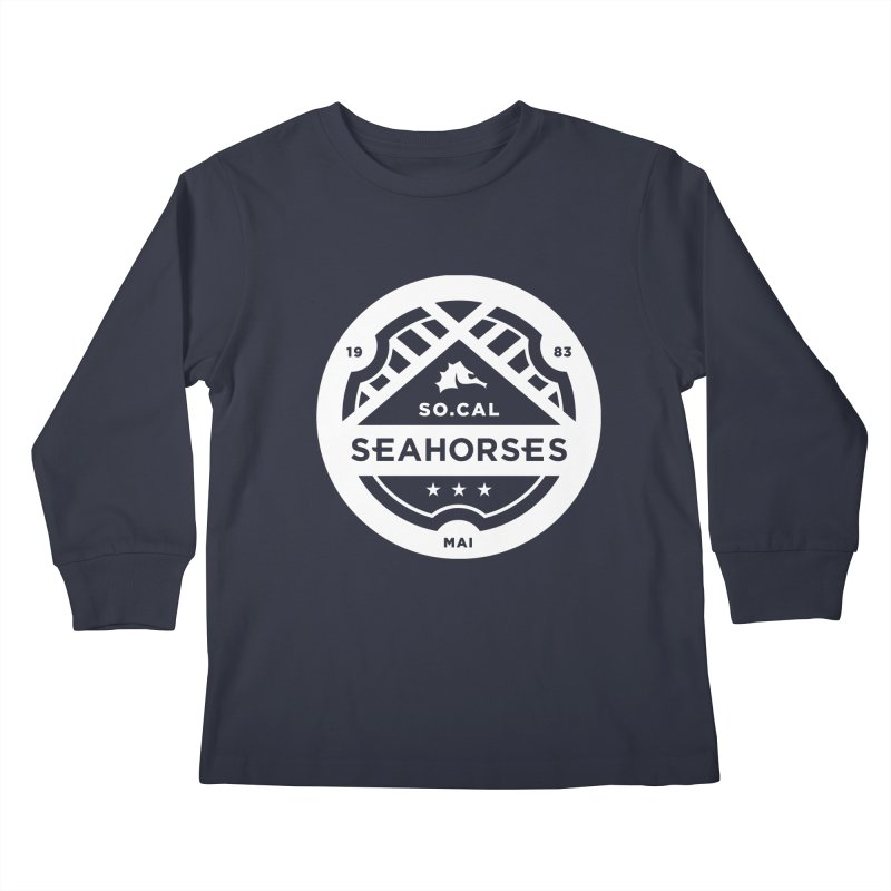 Seahorse Crest - White Kids Longsleeve T-Shirt by SEAHORSE SOCCER's Artist Shop