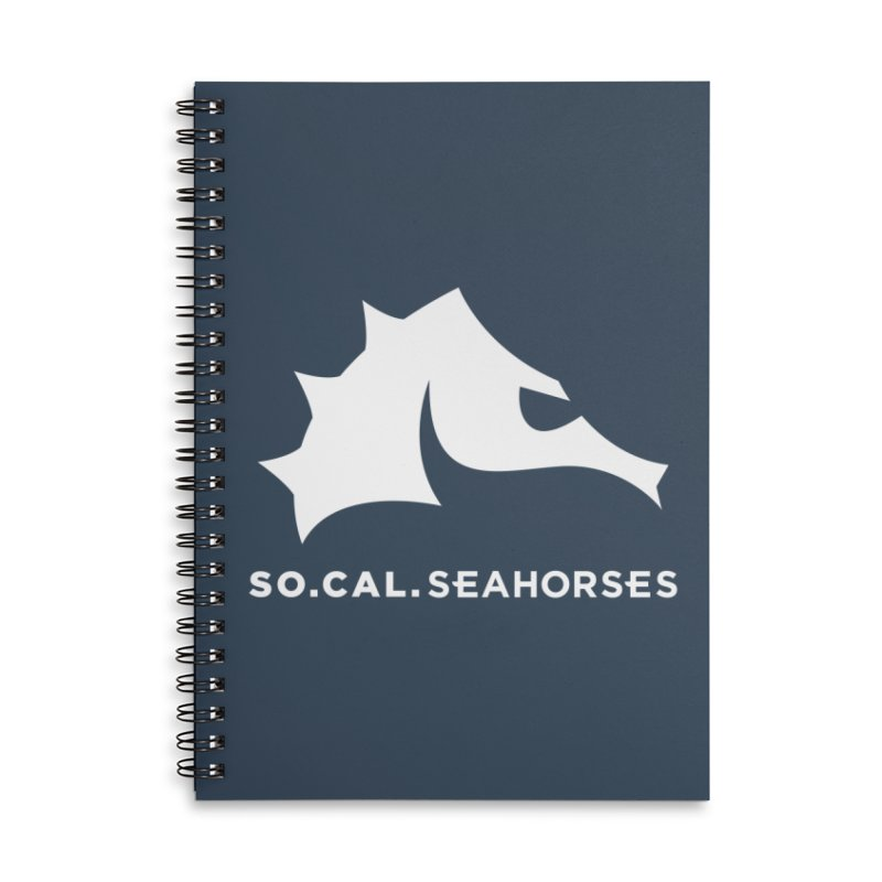 Seahorse Mascot / Wordmark - White Accessories Lined Spiral Notebook by SEAHORSE SOCCER's Artist Shop