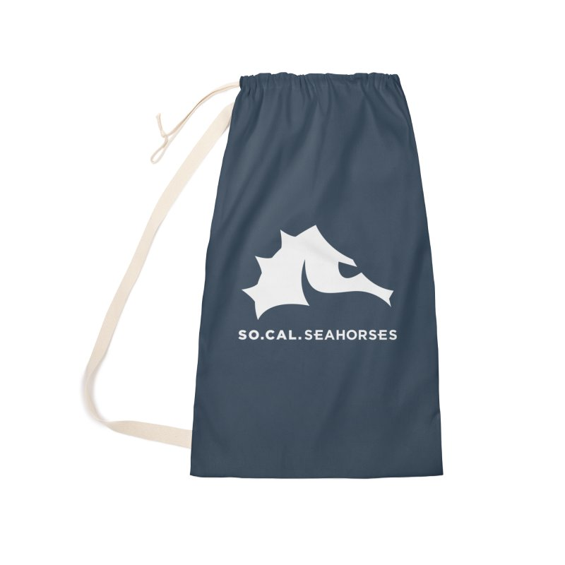 Seahorse Mascot / Wordmark - White Accessories Laundry Bag Bag by SEAHORSE SOCCER's Artist Shop