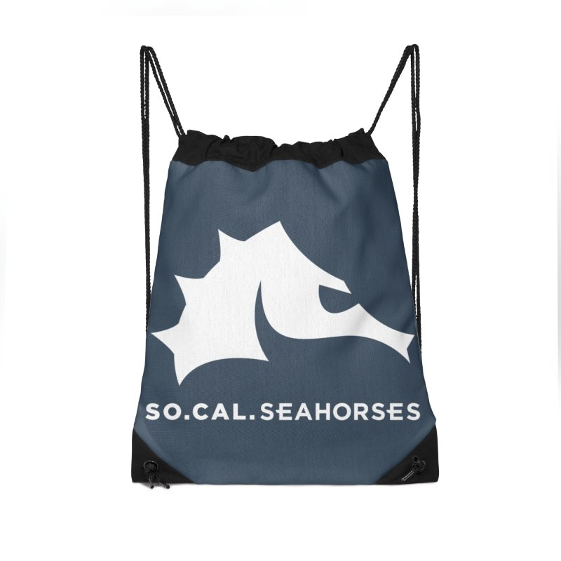Seahorse Mascot / Wordmark - White Accessories Drawstring Bag Bag by SEAHORSE SOCCER's Artist Shop