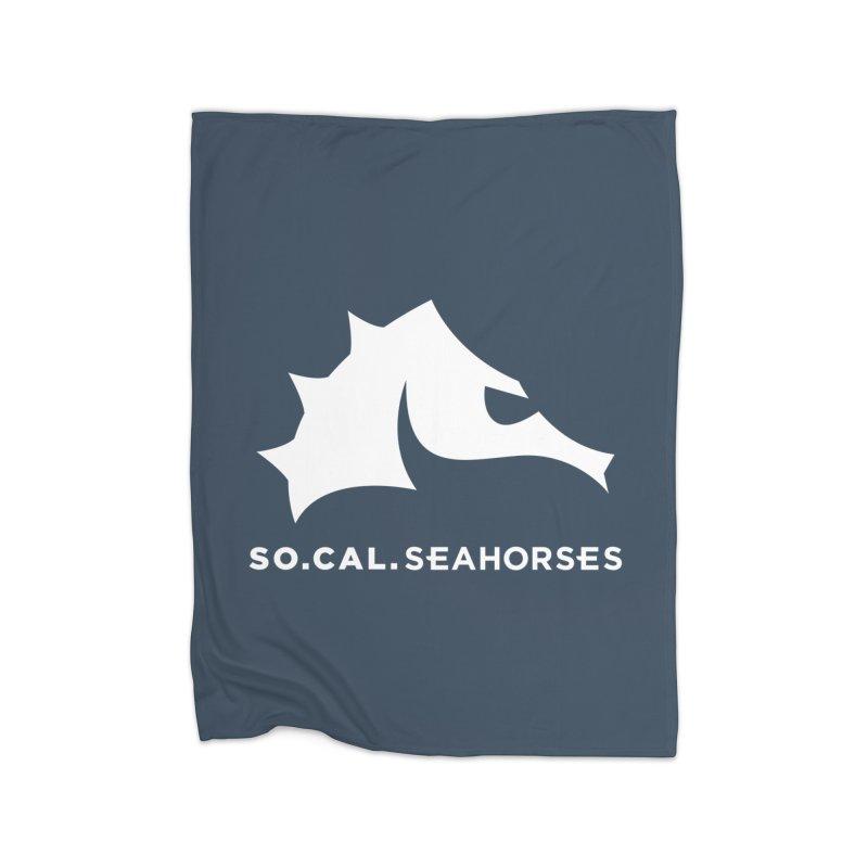 Seahorse Mascot / Wordmark - White Home Blanket by SEAHORSE SOCCER's Artist Shop