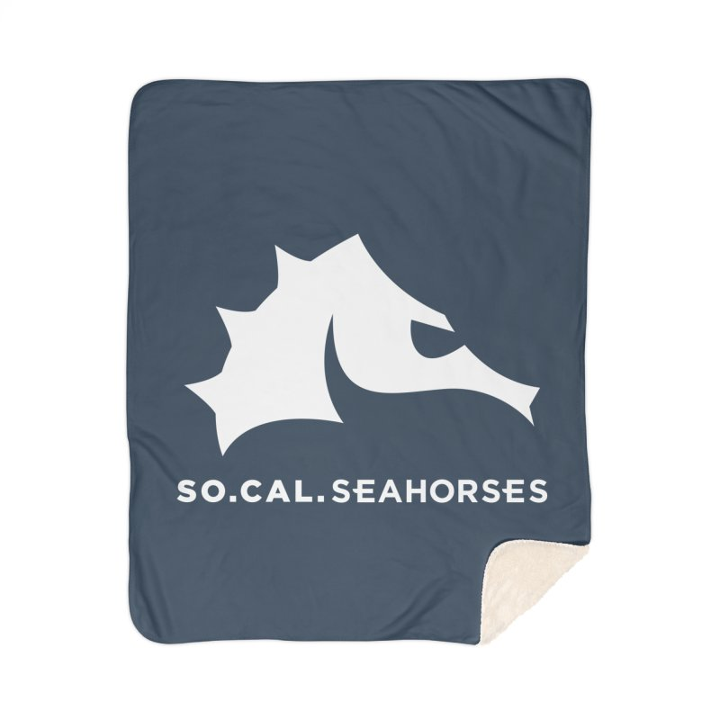 Seahorse Mascot / Wordmark - White Home Sherpa Blanket Blanket by SEAHORSE SOCCER's Artist Shop