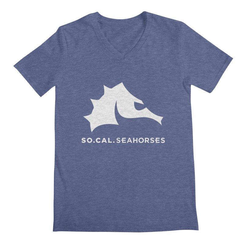 Seahorse Mascot / Wordmark - White Men's Regular V-Neck by SEAHORSE SOCCER's Artist Shop