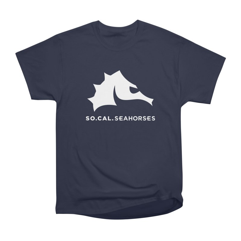 Seahorse Mascot / Wordmark - White Women's Heavyweight Unisex T-Shirt by SEAHORSE SOCCER's Artist Shop