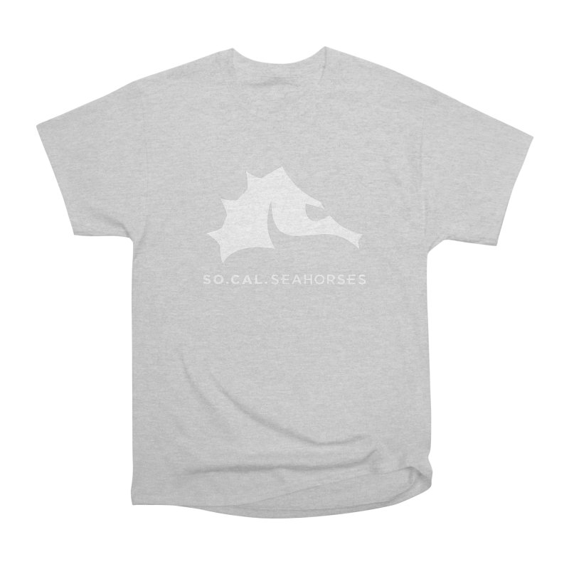 Seahorse Mascot / Wordmark - White Women's Heavyweight Unisex T-Shirt by SEAHORSE SOCCER's Artist Shop