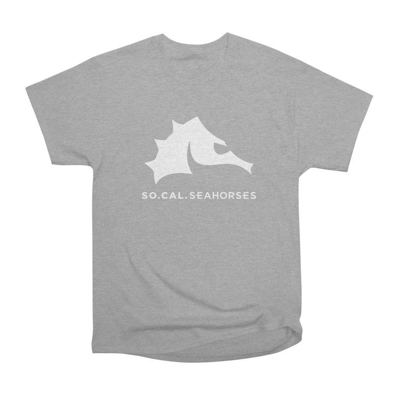 Seahorse Mascot / Wordmark - White Men's Heavyweight T-Shirt by SEAHORSE SOCCER's Artist Shop