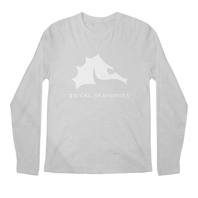 Seahorse Mascot / Wordmark - White Men's Regular Longsleeve T-Shirt by SEAHORSE SOCCER's Artist Shop