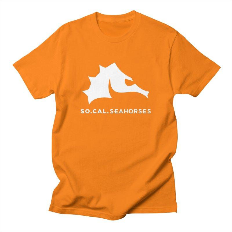 Seahorse Mascot / Wordmark - White Men's T-Shirt by SEAHORSE SOCCER's Artist Shop