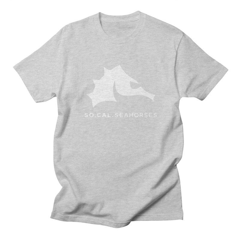 Seahorse Mascot / Wordmark - White Men's Regular T-Shirt by SEAHORSE SOCCER's Artist Shop