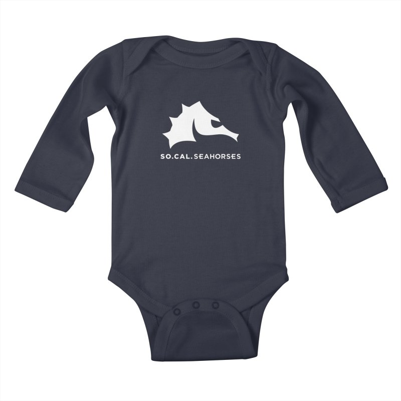 Seahorse Mascot / Wordmark - White Kids Baby Longsleeve Bodysuit by SEAHORSE SOCCER's Artist Shop