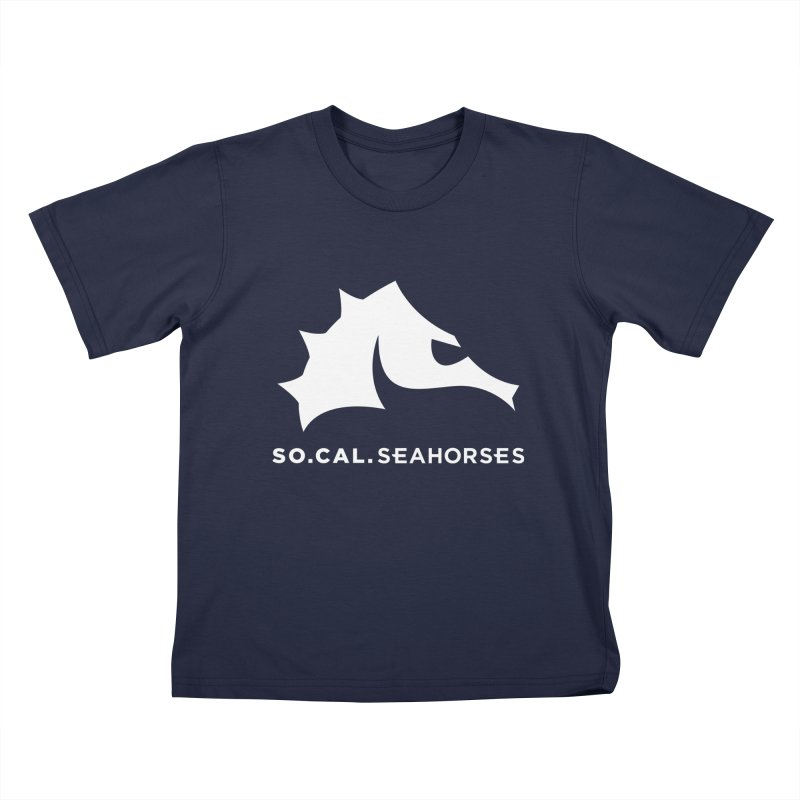 Seahorse Mascot / Wordmark - White Kids T-Shirt by SEAHORSE SOCCER's Artist Shop