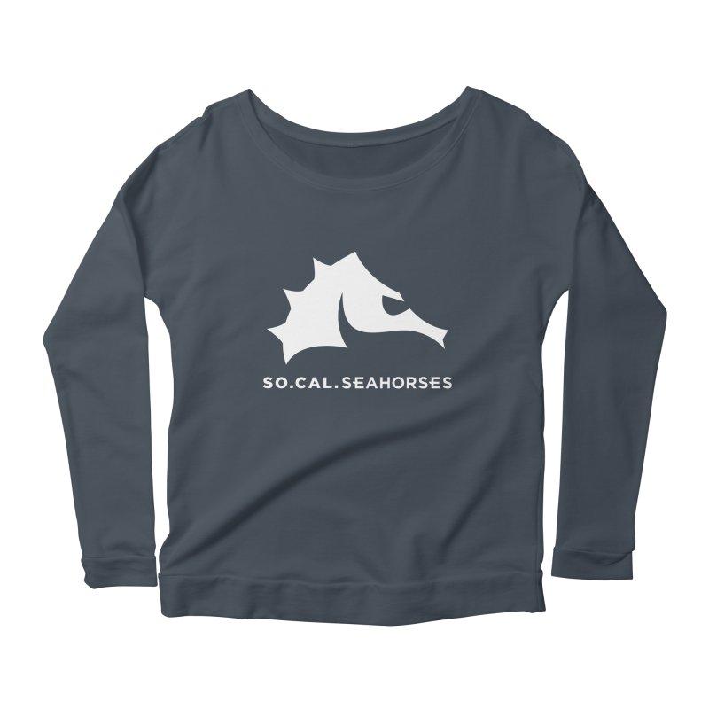 Seahorse Mascot / Wordmark - White Women's Longsleeve T-Shirt by SEAHORSE SOCCER's Artist Shop