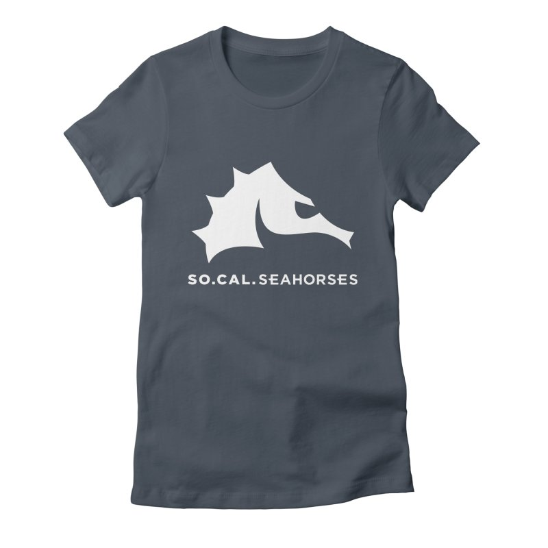 Seahorse Mascot / Wordmark - White Women's Fitted T-Shirt by SEAHORSE SOCCER's Artist Shop