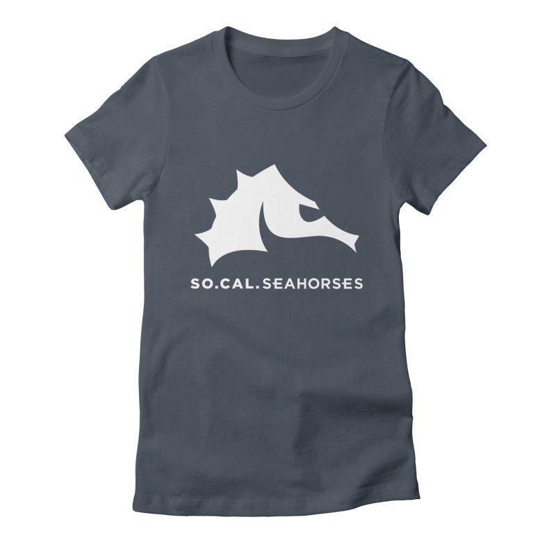 Seahorse Mascot / Wordmark - White Women's T-Shirt by SEAHORSE SOCCER's Artist Shop