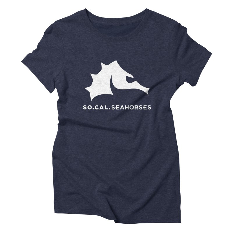 Seahorse Mascot / Wordmark - White Women's Triblend T-Shirt by SEAHORSE SOCCER's Artist Shop